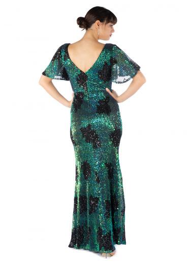 Pierre Cardin Kısa Kollu Payetli Uzun Abiye Elbise Yeşil